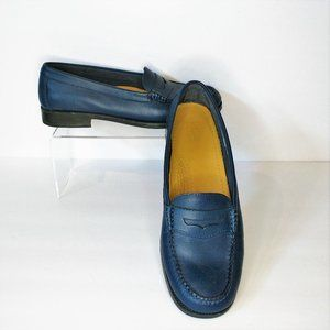 Bass Kathleen Weejuns Navy Leather Penny Loafers